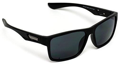 WearMe Pro - New Wood Print Polarized Horn Rimmed Square Sunglasses Black Frame / Black Lens