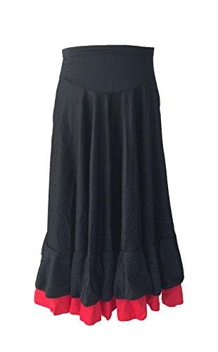 La Señorita Spanish Flamenco Skirt Children Black red 2 Volants (Size 10-7/8 Years) -