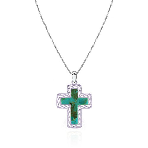 Sterling Silver Simulated Turquoise Filigree Cross Pendant Necklace