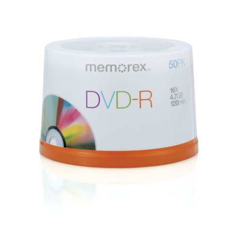 MEMOREX DVD-R 4.7GB 16X PRNTBLE 50 SPNDL by Memorex
