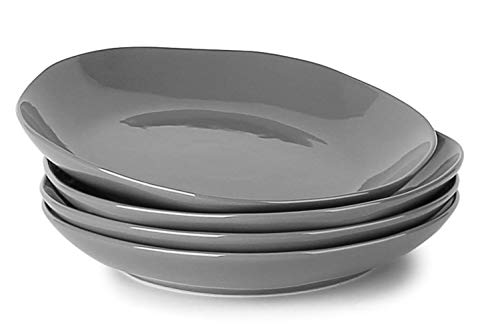 LE TAUCI 4 Piece Porcelain Salad Plate Set 8 Inch,Steel Gray ()