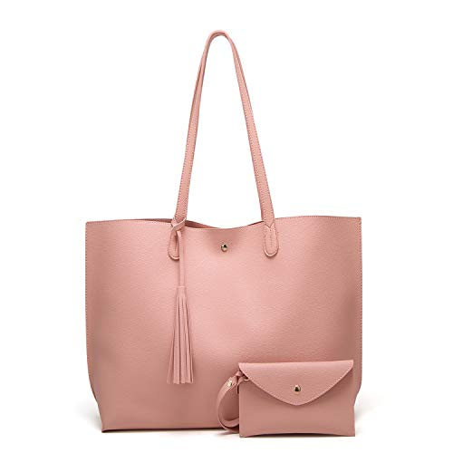 caa8905f0375 SIFINI Women Tassels PU Leather Bag Simple Style Shopping Handbag Shoulder  Tote Bag