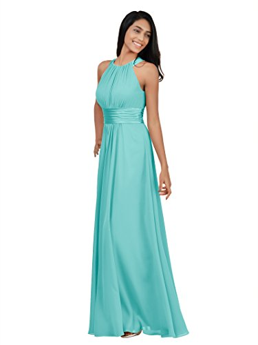 Alicepub Sleeveless Bridesmaid Dresses Long for Women Formal Elegant Halter Evening Dresses for Weddings Empire Maxi Party Prom Gown, Tiffany, US4 ()
