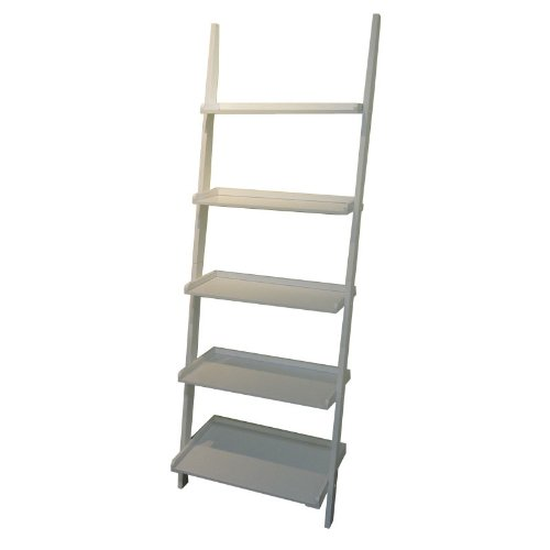 Mintra White Finish 5-Tier Ladder Book Shelf