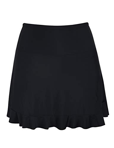 Firpearl Women's Swimsuit Bottom High Waist Athletic Bikini Bottom Swim Ruffled Hem Skirt Black 20