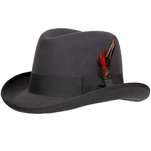 (Levine Hat 9th Street Charles Firm Felt Homburg Godfather Hat 100% Wool (Medium (fits 7 to 7 1/8), Grey))