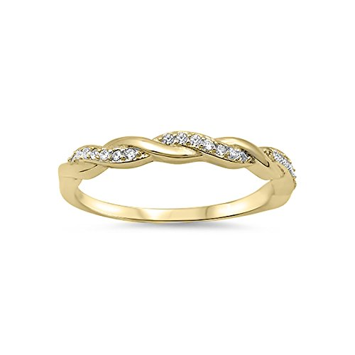 Blue Apple Co. Half Eternity Infinity Twisted Band Ring Round CZ Yellow Tone 925 Sterling Silver ()