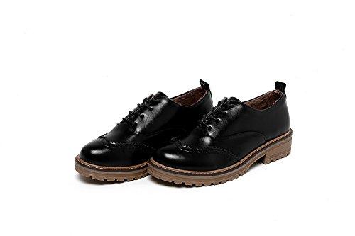 Damen niedrigem Schnürschuhe Odomolor Schuhe Vollrunde Materialien mit Gemischte Pumps Schwarz 39 Absatz qtOw5wdB