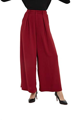 (Tronjori Women High Waist Casual Wide Leg Long Palazzo Pants Trousers(XS, Wine))