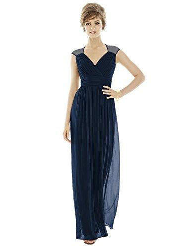 Alfred Sung Style D693 Floor Length Chiffon Shirred Skirt Formal Dress - Cap Sleeves Draped V-Neck - Midnight - 12