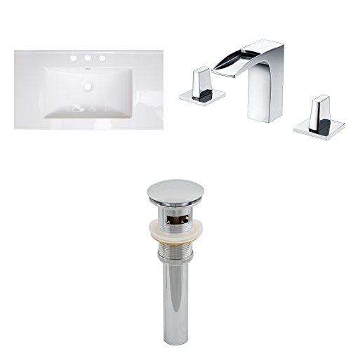 """on sale Jade Bath JB-16675 32"""" W x 18"""" D Ceramic Top Set with 8"""" o.c. CUPC Faucet and Drain, White"""