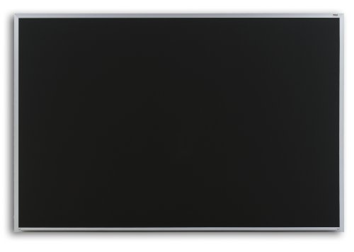 Marsh Pro-Lite 48''x96'' Black Porcelain Chalkboard, Contractor with Hanger Bar Aluminum Trim / 1'' Map Rail by Marsh