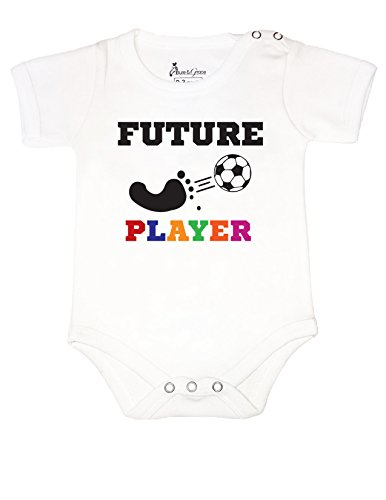 #3 BABY ROMPER SHORT SLEEVE ONESIE UNISEX FUTURE SOCCER PLAYER GIFT POLY BAGGED (0-6 MONTHS, (Printable Football Decorations)