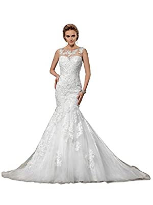 Bridess Scoop Tulle Appliques Trumpet Wedding Dress 2015