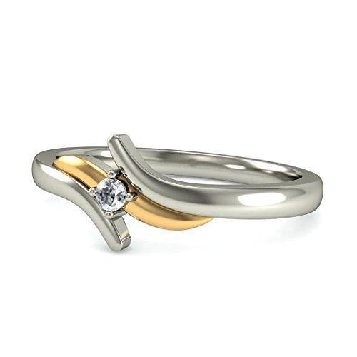 14K Or blanc, 0,03carat Diamant Taille ronde (IJ | SI) en diamant