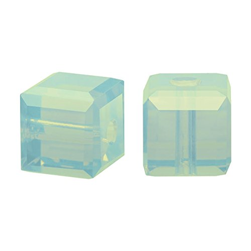 - Swarovski Crystal, 5601 Cube Beads 8mm, 4 Pieces, Chrysolite Opal