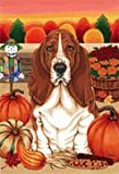 Basset Hound – by Tomoyo Pitcher, Autumn Themed Dog Breed Flags 12 x 18 For Sale