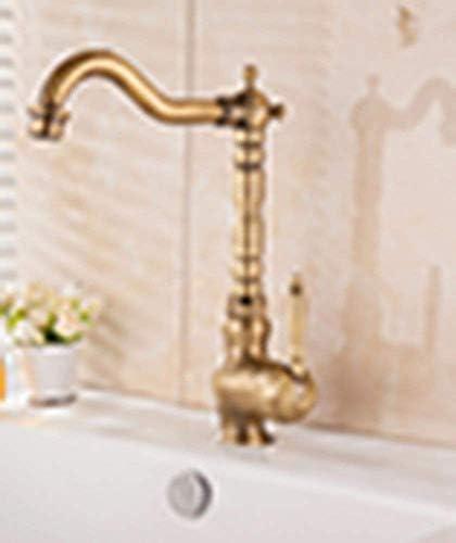 ヨーロピアンスタイルのレトロスタイルの銅流域のトイレのバスルームホットとコールドのシングルホール水タップ