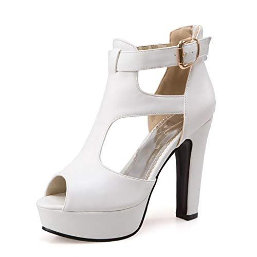 a970665bb9481 MORNISN Women's peep Toe Platform high Heel Sandals Buckle T-Strap Pumps  Wedding Party Shoes