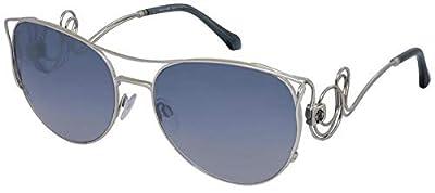 Roberto Cavalli RC1026 Carmignano Sunglasses 61 18X Shiny Rhodium Blu Mirror