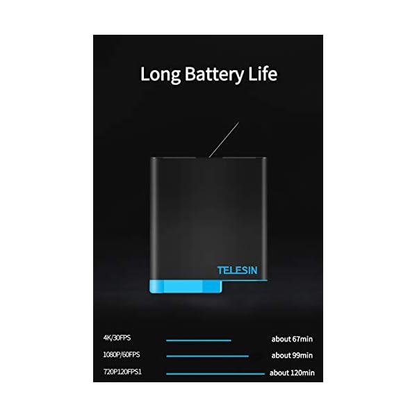 TELESIN Caricabatteria tripla e scatola di immagazzinaggio di batteria con caricabatteria a 3 canali con 2 batterie ricaricabili agli ioni di litio per Gopro Hero 8 Black, Hero 7/6/5 Black 4 spesavip