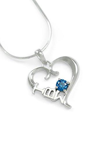 The Collegiate Standard Tau Beta Sigma Sterling Silver Heart Pendant with Swarovski Blue Crystal