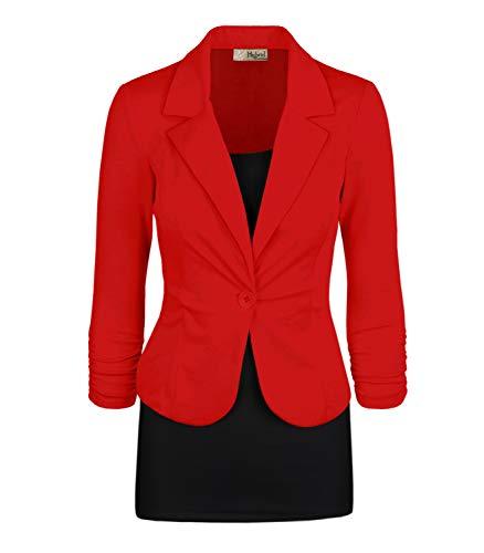 Women Super Comfy Ponte Office Blazer JK1131X 1073T RED ()