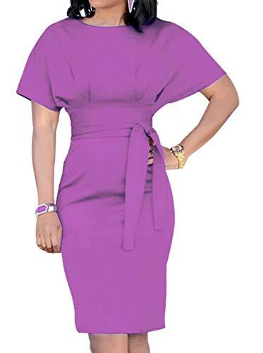 Amk Pocket - Molisry Women's Retro Short Sleeve Wear to Work Bodycon Pencil Business Dress with Belt