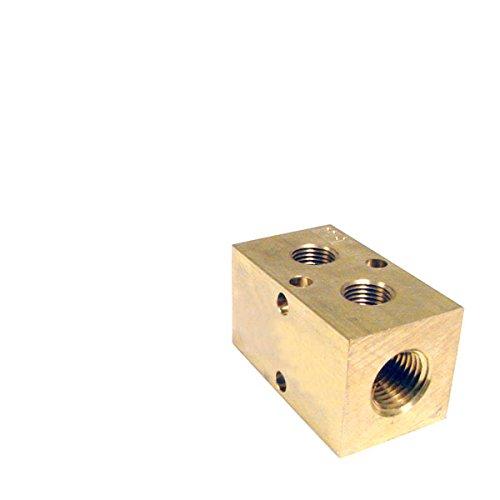 Pneumadyne M20-250-2-BRS, Inline Manifold, 2-Station, 1/4 NPT Input, 1/8 NPT Output, Brass