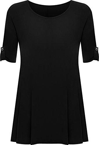 WearAll Womens Plus Size Scoop Neck Short Sleeve Flared Ladies Long Plain Top Sizes 14-28