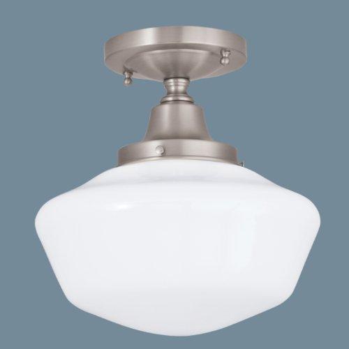 Norwell Lighting 5361F-PN-SO Schoolhouse - One Light Flush Mount, Glass Options: Round, Choose Finish: PN: Polished Nickel