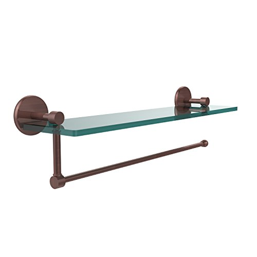 - Allied Brass P1000-1PT/16-CA Prestige Skyline Collection Paper Towel Holder with 16 Inch Glass Shelf, Antique Copper