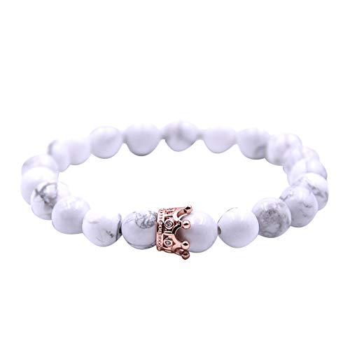 Elogoog 8mm Natural Matte Agate Stone Crown Queen Beads Bracelet Yoga Balancing Reiki Healing Jewelry (White)