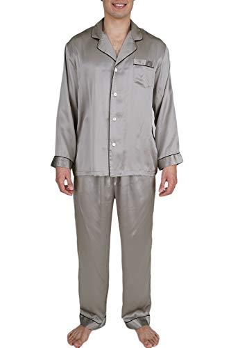 OSCAR ROSSA Men's Luxury Silk Sleepwear 100% Silk Pajamas Set Silver Grey (Best Mens Silk Pajamas)