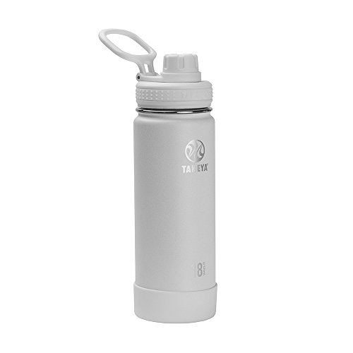Takeya Actives Insulated Stainless Steel Water Bottle with Spout Lid, 18 oz, Arctic