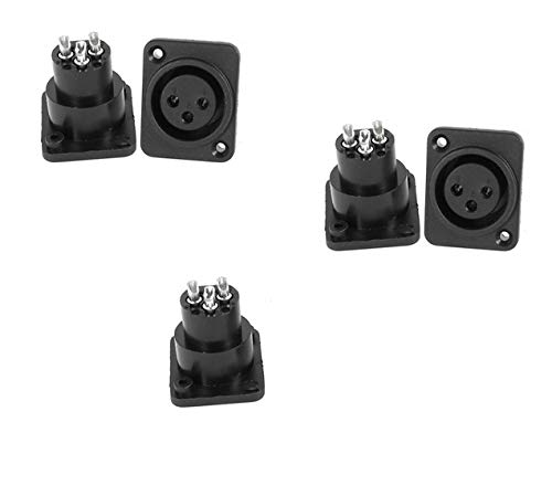 Yohii 5Pcs Audio XLR Female Jack Chassis Panel Mount Socket Black Silver Tone