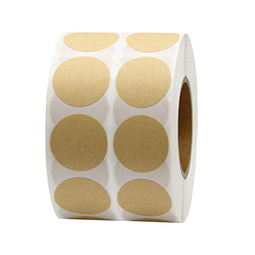 1,000 Brown Natural Kraft Paper Dot Stickers 1 Inch Round Circle Color Coding Labels
