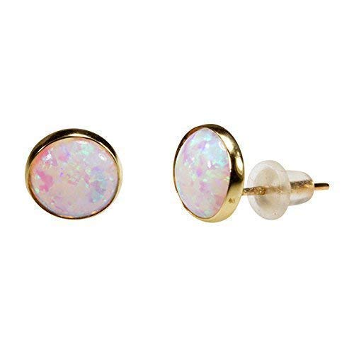 (14K Gold White Opal Stud Earrings - 14K Solid Yellow Gold Studs, Dainty 8mm October Birthstone Medium Size Opal Jewelry, Simple Handmade Gift for Classy Women)