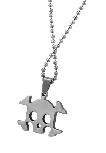 Things2Die4 Stainless Steel Skull and Crossbones Pendant on Ball Chain 25 in.
