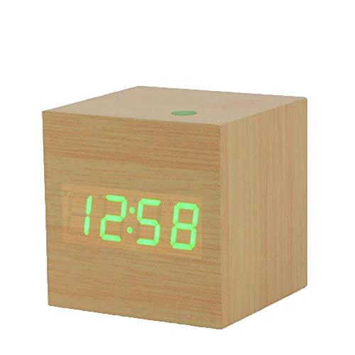 Multicolor Sound Control Cube Wooden LED Alarm Clock Temperature LED Display Electronic Desktop Digital Table ()