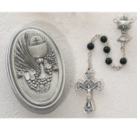 Boys Girls Childrens First Communion Rosary with Chalice Centerpiece 5mm Black Glass Beads with Pewter Gift Box
