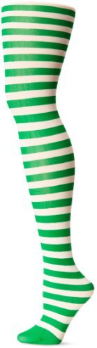 Leg Avenue Nylon Stripe Tights (White/ Kelly Green) by Leg Avenue