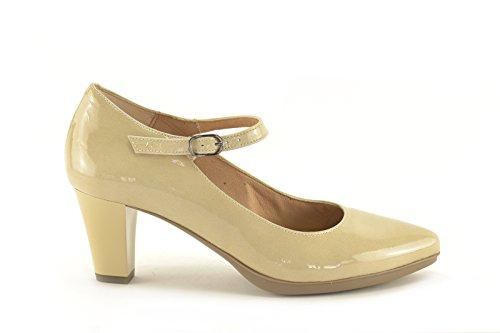 ConBuenPie by Desiree Shoes - modelo 2078 - Zapato de Charol de piel Color Azul, Beige, Rosa y Rojo Beige