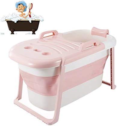折りたたみバスタブ GYF 折り畳み式バスタブ ポータブル大人用バスタブ プラスチックカバーホーム全身 子供用入浴バケツ 厚くなった大人の浴槽 折りたたみ式バスタブ 117x65x60cm (Color : Pink)
