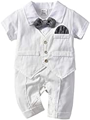 MetCuento Baby Boys Tuxedo Rompers Suit Short Sleeve Gentleman Bowtie Wedding Birthday Outfits Clothes 3-24 Mo