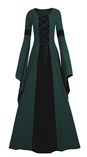 Meilidress Women Medieval Dress Lace Up Vintage Floor Length Cosplay Retro Long Dress Dark Green -