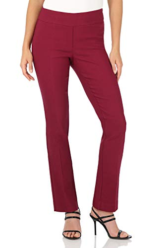 Rekucci Women's Ease in to Comfort Straight Leg Pant with Tummy Control (6,Burgundy)