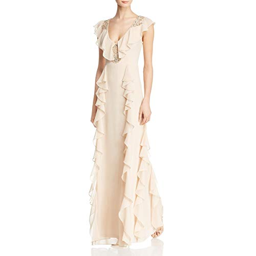 Aidan Mattox Women's Chiffon Beaded A-Line Full Length Flutter Gown Beige 2 (Aidan Mattox Deep V Neck Ball Gown)