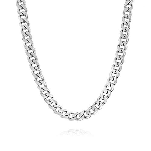 Verona Jewelers 7.5MM Italian 925 Solid Sterling Silver Classic Curb Cuban Chain for Men- Solid Heavy Link, Thick Link Chain Necklace (24, 7.5MM)