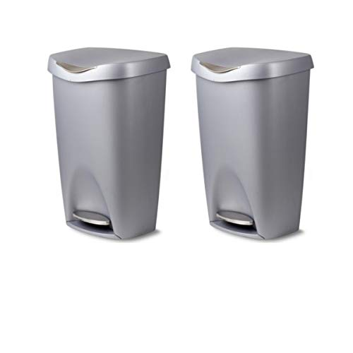 Trash Nickel Umbra Can - Umbra Brim 13 Gallon Trash Can with Lid - Large Kitchen Garbage Can with Stainless Steel Foot Pedal, Stylish and Durable, Silver/Nickel (2 Pack)